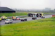 Nederland, Veghel, 28-4-2008..Op de A50 kantelde een vrachtwagen doordat hij met de wielen in de berm reed. Hupldiensten waren snel ter plekke. Het verkeer kon er via de vluchtstrook langs. Gekantelde vrachtauto's zijn vaak oorzaak van files...Foto: Flip Franssen/Hollandse Hoogte