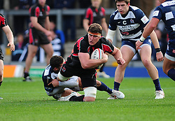 Ulster Ravens' Robbie Diack is tackled by Bristol Rugby's Ben Mosses - Photo mandatory by-line: Dougie Allward/JMP  - Tel: Mobile:07966 386802 21/10/2012 - SPORT - Rugby Union - British and Irish Cup -  Bristol  - The Memorial Stadium - Bristol Rugby V Ulster Ravens