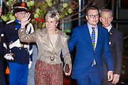 Celebration of the 75th anniversary of the Queen, with ballet of Introdans, for (former) employees and family in Utrecht<br /> <br /> On the photo:  Princess Laurentien and Prince Constantijn