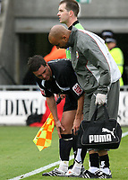 Photo: Paul Greenwood.<br />Blackpool v Bristol City. Coca Cola Championship. 18/08/2007.<br />Bristol's Jamie McAllister receives treatment form the physio after recieving a blow to tghe face during a challenge in the box
