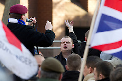 © under license to London News Pictures. 11/12/2010. Continuing their protests in towns and cities across the UK, the English Defence League protest against militant Islam in Peterborough.