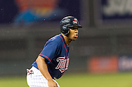 Ben Revere (11) of the Minnesota Twins takes a lead off 3rd base during a game against the Detroit Tigers on August 14, 2012 at Target Field in Minneapolis, Minnesota.  The Tigers defeated the Twins 8 to 4.  Photo: Ben Krause