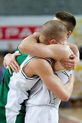 Edo Muric of Krka and his brother Dino Muric of Olimpija after the basketball match between KK Union Olimpija and KK Krka in 3rd Quarterfinal of Spar Slovenian Cup, on February 11, 2011 in Sportna dvorana Poden, Skofja Loka, Slovenia. Union Olimpija defeated Krka 122-113 after 3-overtimes. (Photo By Vid Ponikvar / Sportida.com)