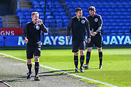 Today's Officials Gavin Ward, Graham Kane and Andrew Fox during the warm up before the EFL Sky Bet Championship match between Cardiff City and Nottingham Forest at the Cardiff City Stadium, Cardiff, Wales on 2 April 2021.