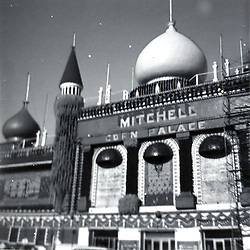 Summer 1967: Corn Palace in Mitchell South Dakota.  Scaffolding was around the building either for the decorating with corn or for remodel and repair...Image taken by a pre-teen boy during the year listed in caption,  scanned and adjusted in PhotoShop.  Image was shot with a Kodak Hawkeye 126 Instamatic camera.