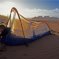 A traveler camps in Jordan's Wadi Rum, at the edge of the Arabian Desert.