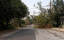 05 Sept  2005. New Orleans, Louisiana. Post hurricane Katrina.<br /> Deserted side streets off bustling Magazine Street in the Uptown district of the ghost town that once was New Orleans.<br /> Photo; ©Charlie Varley/vareypix.com