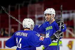 Matic Podlipnik of Slovenia and Sabahudin Kovacevic of Slovenia during Ice Hockey match between National Teams of Kazakhstan and Slovenia in Round #4 of 2018 IIHF Ice Hockey World Championship Division I Group A, on April 27, 2018 in Arena Laszla Pappa, Budapest, Hungary. Photo by David Balogh / Sportida