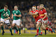 Connor Braid of Canada passes the ball during the 2016 Guinness Series  autumn international rugby match, Ireland v Canada at the Aviva Stadium in Dublin, Ireland on Saturday 12th November 2016.<br /> pic by  John Halas, Andrew Orchard sports photography.