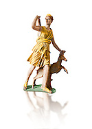 """Painted colour verion of Artemis and a deer, known as """"Diana of Versailles"""", a 1st - 2nd century Roman statue in marble probably from Italy.  Artemis, Diana to the Romans, is goddess of the hunt, is accompanied by a deer.  The Diana of Versailles, similar to other Roman replicas was found in Libya or Turkey and was copied from a lost Greek bronze original attributed to Leochares, c. 325 BC .  First the statue was at Fontainbleau then the Louvre ancient hall and finally it went to Versailles. From the collection of Louis XIV, Pope Paul IV and Henry II (1556) . Inv MR 152 ( or Ma 589), Louvre Museum Paris"""
