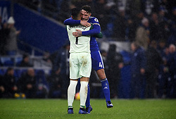 Cardiff City's Sean Morrison and Cardiff City goalkeeper Neil Etheridge at full time during the Premier League match at the Cardiff City Stadium, Cardiff.