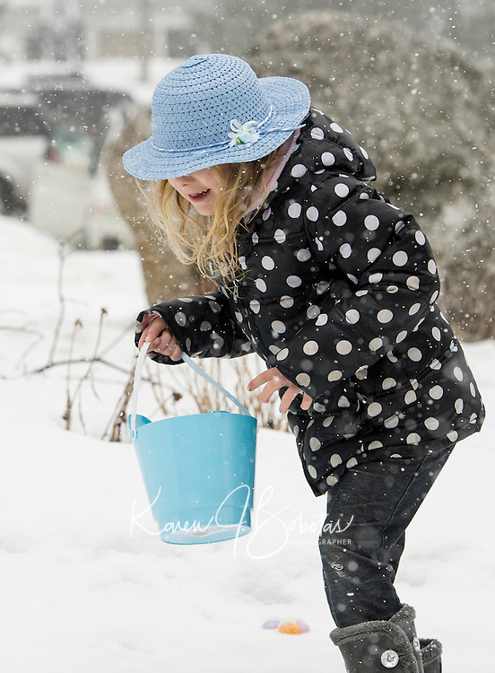 """Adding a touch of """"Easter Egg Blue"""" Destiny Elliott searches for eggs in the snow during the Weirs Community Park Easter Egg Hunt Saturday morning.  (Karen Bobotas/for the Laconia Daily Sun)"""