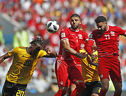MOSCOW, June 23, 2018  Dylan Bronn (R) of Tunisia heads the ball to score during the 2018 FIFA World Cup Group G match between Belgium and Tunisia in Moscow, Russia, June 23, 2018. (Credit Image: © Cao Can/Xinhua via ZUMA Wire)