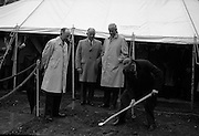 Sod cut for new Irish International Hotel..1961.02.10.1961..10.02.1961..2nd October 1961..Image shows the Lord Mayor of Dublin, Mr Robert Briscoe TD,turning the first sod for the building of the new Irish International Hotel in Ballsbridge, Dublin.