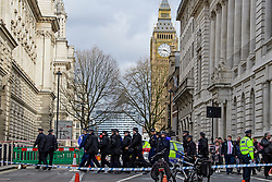 © Licensed to London News Pictures. 22/03/2017. London, UK. Heavy police presence at the scene of suspected terrorist attack near Houses of Parliament in Westminster, London. Photo credit: Ben Cawthra/LNP