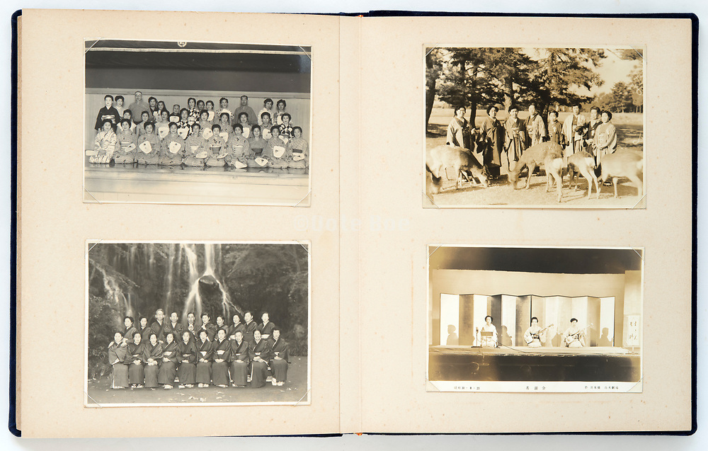 Japan photo album with meeting at Nohonbashi Shiroki theater on  August 28, 1955