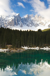 Latemar Mountain reflection in Logo di Carreza, Dolomite Mountains, South Tyrol, Italy