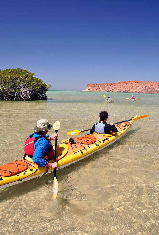 Sea kayakers leaving beach on Isla Espiritu Santo, Sea of Cortez, Baja California, Mexico.