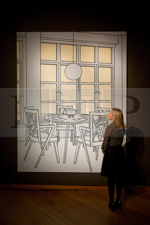 © Licensed to London News Pictures. 10/12/2012. London, UK. A Christie's employees views 'Interior with Fondue Pan' (1971) (est. GB£350,000-450,000) by Patrick Caulfield at a press view held at the auction house's King Street Premises in London today (10/12/12). The evening auction, entitled 'Rule Britannia', and featuring over 185 lots by Britain's most influential modern artists, takes place on Wednesday the 13th Of December. Photo credit: Matt Cetti-Roberts/LNP
