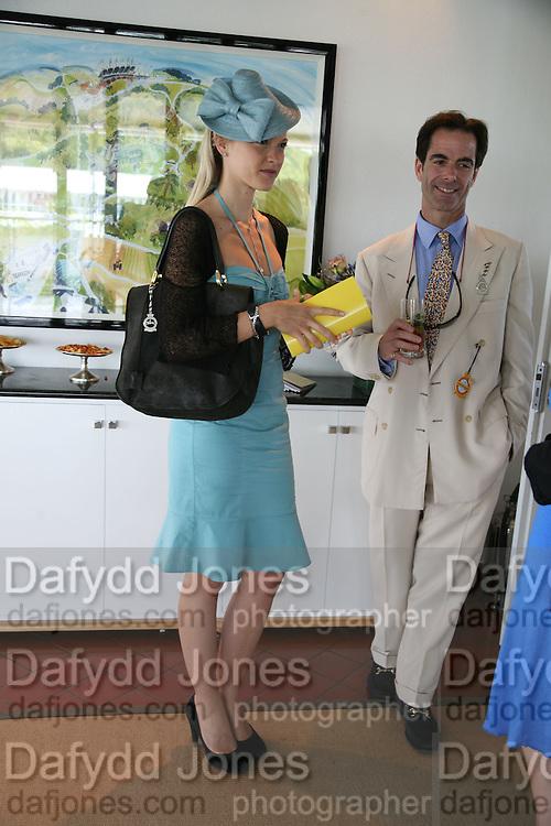 Lady Alexandra Gordon-Lennox and Charles Fraser. Glorious Goodwood. 31 July 2007.  -DO NOT ARCHIVE-© Copyright Photograph by Dafydd Jones. 248 Clapham Rd. London SW9 0PZ. Tel 0207 820 0771. www.dafjones.com.