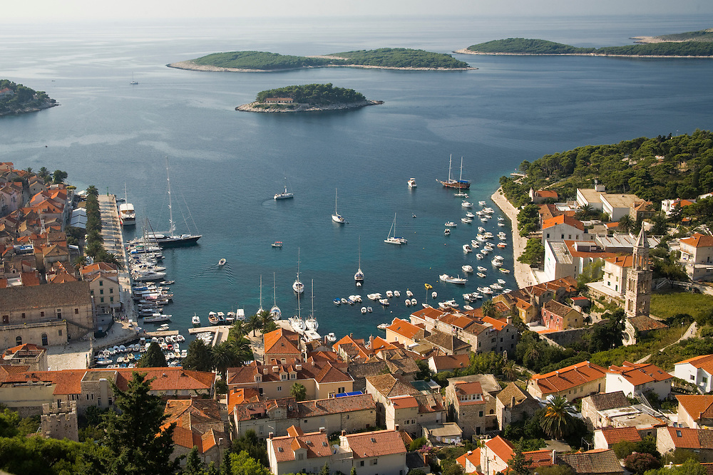 Europe, Croatia, Dalmatia, Hvar Island, Hvar town.  View of town, Adriatic Sea, and islands from the Citadel, a 16th century Venetian fort (also known as Spanjola).