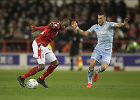 Leeds United's Jack Harrison  in action with Nottingham Forest's Samba Sow<br /> <br /> Photographer Mick Walker/CameraSport<br /> <br /> The EFL Sky Bet Championship - Nottingham Forest v Leeds United - Saturday 8th February 2020 - The City Ground - Nottingham <br /> <br /> World Copyright © 2020 CameraSport. All rights reserved. 43 Linden Ave. Countesthorpe. Leicester. England. LE8 5PG - Tel: +44 (0) 116 277 4147 - admin@camerasport.com - www.camerasport.com