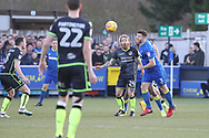 AFC Wimbledon defender Jon Meades (3) battles for possession with Bristol Rovers midfielder Stuart Sinclair (24)  during the EFL Sky Bet League 1 match between AFC Wimbledon and Bristol Rovers at the Cherry Red Records Stadium, Kingston, England on 17 February 2018. Picture by Matthew Redman.