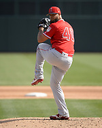 GLENDALE, ARIZONA - MARCH 04:  Luis Garcia #40 of the Los Angeles Angels pitches against the Chicago White Sox on March 4, 2019 at Camelback Ranch in Glendale Arizona.  (Photo by Ron Vesely)  Subject:  Luis Garcia