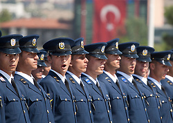 © licensed to London News Pictures. ANKARA, TURKEY  30/08/11. New graduated Turkish Sergeants at the 30th August Turkish Victory Day celebrations in capital Ankara. Please see special instructions for usage rates. Photo credit should read TOLGA AKMEN/LNP