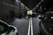 3 climate activists have blocked the inbound tunnel to Heathrow Airport by locking themselved to a parked car, Februrary 20th. 2017. The activists are protesting against the proposed third runway by the Government, which goes against the needed cuts to CO2 emmissions.