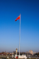 The Chinese flag is raised every morning in Tiananmen Square, Beijing.