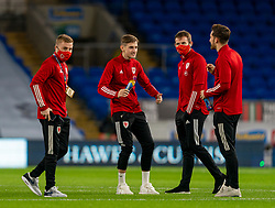 CARDIFF, WALES - Wednesday, November 18, 2020: Wales' David Brooks (2nd from L) on the pitch before the UEFA Nations League Group Stage League B Group 4 match between Wales and Finland at the Cardiff City Stadium. Wales won 3-1 and finished top of Group 4, winning promotion to League A. (Pic by David Rawcliffe/Propaganda)