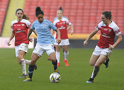 February 23, 2019 - Sheffield, England, United Kingdom - Demi Stokes (Manchester City) about to be challenged by Lisa Evans (Arsenal) during the  FA Women's Continental League Cup Final  between Arsenal and Manchester City Women at the Bramall Lane Football Ground, Sheffield United FC Sheffield, Saturday 23rd February. (Credit Image: © Action Foto Sport/NurPhoto via ZUMA Press)