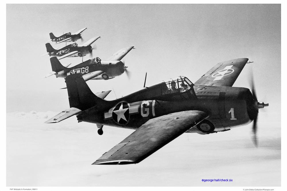 Wildcats flying in formation, WWII, aerial