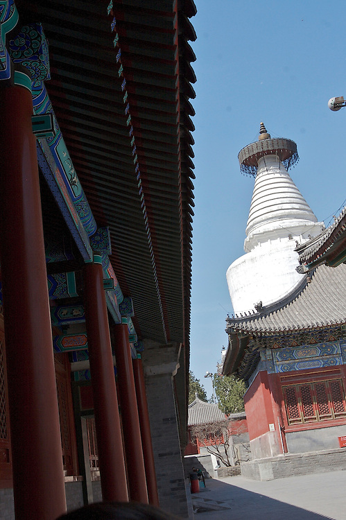 Miaoying Temple also called White Stupa Temple in Western Beijing,China.  The stupa stands 50.9 meters tall and 30 meters wide.