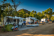 Costa Rei, Sardinia, Italy, June 2015. Camping Tiliguerta in Capo Ferrato. Costa Rei is located on the south coast of Sardinia about 50km from Cagliari. The coastline is renowned for its crystal clear water, golden sands and long beaches. Photo by Frits Meyst / MeystPhoto.com