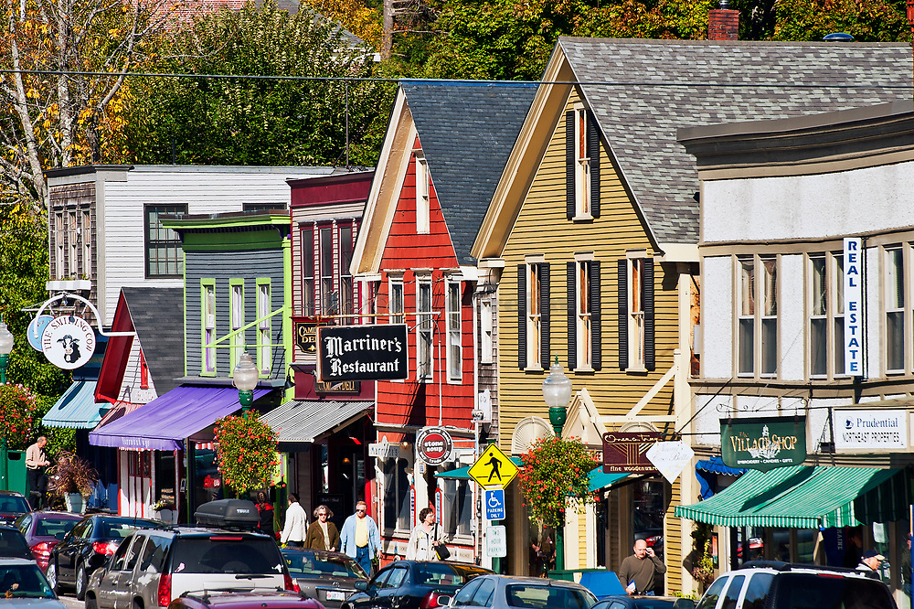 Downtown shops, Camden, Maine, USA.