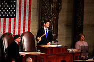 Speaker of the House Paul Ryan gavels the Joint Session to order, before President Donald Trump arrives to give  a speech to a joint session of Congress on February 28, 2017<br /> <br /> Photo by Dennis Brack