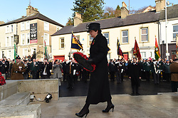 DUP leader Arlene Foster lays a wreath at the war memorial during events to remember the 12 victims of the IRA's 1987 Remembrance Sunday bomb attack in Enniskillen, Co Fermanagh.