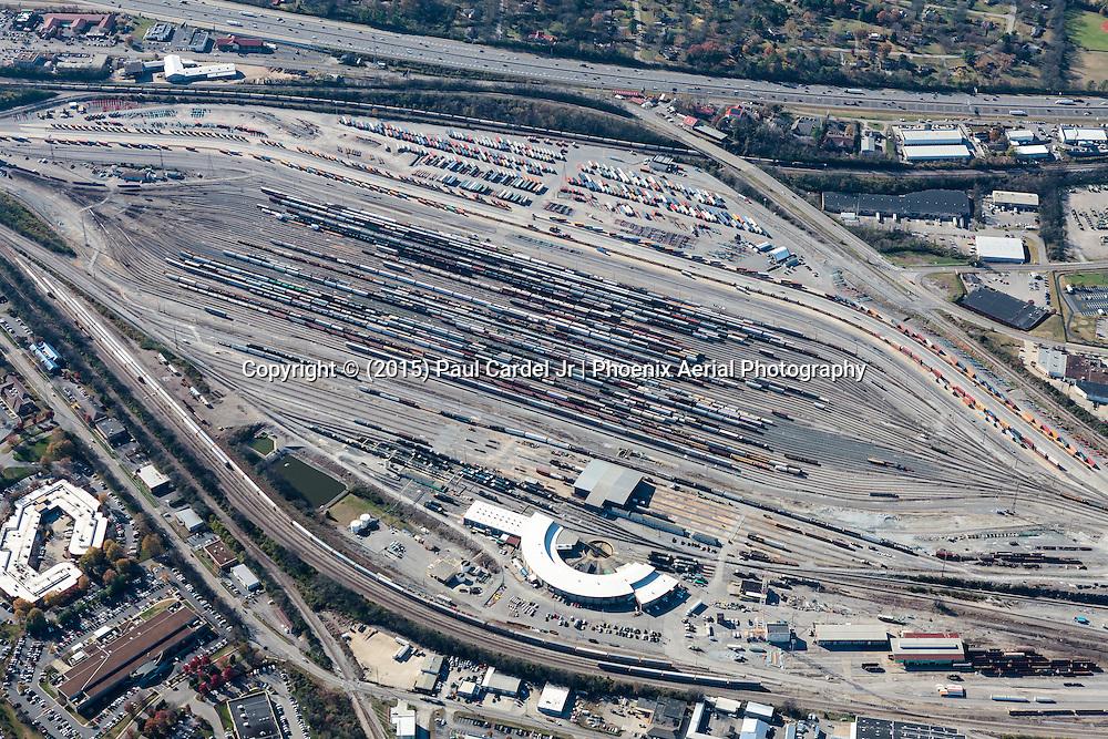 Aerial photo of Radnor Rail Yard in Nashville Tennessee.