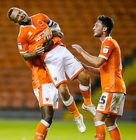 Blackpool's Jay Spearing celebrates scoring his side's second goal with teammates<br /> <br /> Photographer Alex Dodd/CameraSport<br /> <br /> The Carabao Cup Third Round - Blackpool v Queens Park Rangers - Tuesday September 25th 2018 - Bloomfield Road - Blackpool<br />  <br /> World Copyright © 2018 CameraSport. All rights reserved. 43 Linden Ave. Countesthorpe. Leicester. England. LE8 5PG - Tel: +44 (0) 116 277 4147 - admin@camerasport.com - www.camerasport.com