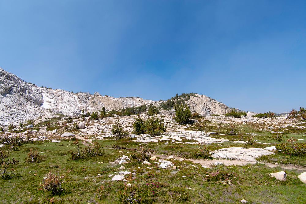 The view along the John Muir Trail near Squaw Lake, John Muir Wilderness, Sierra National Forest, Sierra Nevada Mountains, California, USA.