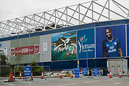 Staff working at the coronavirus drive through testing site outside the stadium prior to the Cardiff City vs Leeds United EFL Championship match at the Cardiff City Stadium, Cardiff, Wales on 21 June 2020.