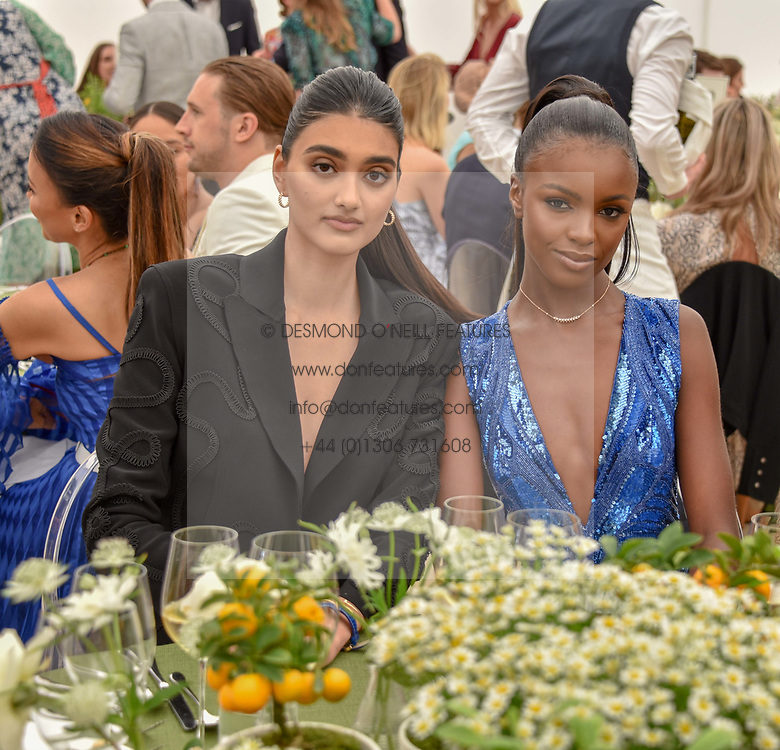 Neelam Gill, Leomie Anderson at the Cartier Queen's Cup Polo 2019 held at Guards Polo Club, Windsor, Berkshire. UK 16 June 2019. <br /> <br /> Photo by Dominic O'Neill/Desmond O'Neill Features Ltd.  +44(0)7092 235465  www.donfeatures.com