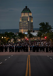 Riot police form a line to barricade Renée Léevesque Boulevard in Quebec City as protestors demonstrate ahead of the G7 Summit on Thursday, June 7, 2018. Photo by Darren Calabrese/CP/ABACAPRESS.COM