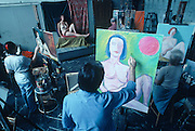 Students working with a nude model at the National Academy School of Fine Arts in New York.