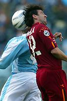 Roma 21/4/2004 Campionato Italiano Serie A <br />Lazio - Roma 1-1 <br />Bernardo Corradi (Lazio) and Vincent Candela (Roma)<br />Lazio and Roma are playing again after it was suspended on March 21, 2004, for security reasons.  <br />Foto Andrea Staccioli Graffiti