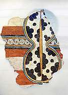Mycenaean Fresco wall painting of a figure of eight shield. Mycenae Acropolis, Greece,  14th - 13th Century BC. Athens Archaeological Museum. .<br /> <br /> If you prefer to buy from our ALAMY PHOTO LIBRARY  Collection visit : https://www.alamy.com/portfolio/paul-williams-funkystock/mycenaean-art-artefacts.html . Type -   Athens    - into the LOWER SEARCH WITHIN GALLERY box. Refine search by adding background colour, place, museum etc<br /> <br /> Visit our MYCENAEN ART PHOTO COLLECTIONS for more photos to download  as wall art prints https://funkystock.photoshelter.com/gallery-collection/Pictures-Images-of-Ancient-Mycenaean-Art-Artefacts-Archaeology-Sites/C0000xRC5WLQcbhQ