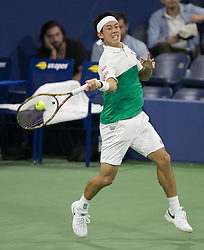 September 1, 2018 - Flushing Meadows, New York, U.S - Kei Nishikori during his match against Diego Schwartzman on Day 6 of the 2018 US Open at USTA Billie Jean King National Tennis Center on Saturday September 1, 2018 in the Flushing neighborhood of the Queens borough of New York City. Nishikori defeats Schwartzman 6-4, 6-4, 7-5, 6-1. (Credit Image: © Prensa Internacional via ZUMA Wire)