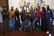 Photographers, l to r: Terrence Jennings, Gus Noelle Theard, Kerika Fields, Akintola Haniff, Delphne Fauwndu-Buford, Dreama Gold Smith, Shantrell P. Lewis, Layla Barrayn, Russell Fredrick, and seatied, Jamel Shabazz at Artist talk of ' Shoot-Out: Lonely Crusade..An Homage to Jamel Shabazz ' held at The George and Leah McKenna African American Museum of Art on December 12, 2008 in New Orleans, Louisana